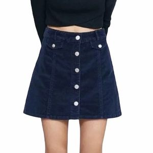 NWT Buttons Navy Corduory Skirt
